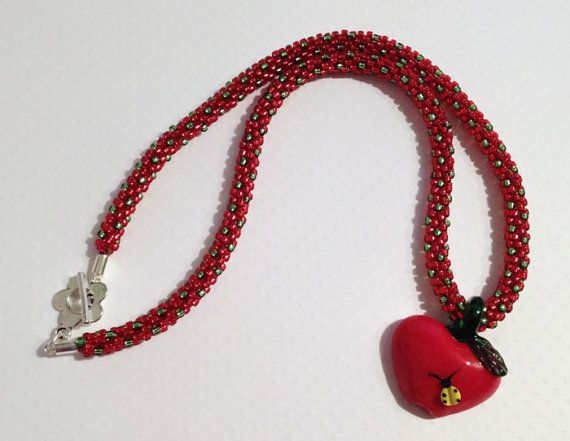 Red and Green Beaded Kumihimo Necklace with by JewelleryByJanine, £40.00