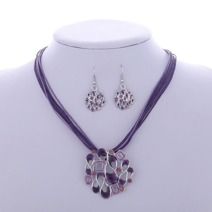 Mode-sieraden Sets Bruiloft Multilayer Lederen Ketting Oorbel Voor Bruiden Party Accessoires Verzilverd Crystal Vrouwen Hot