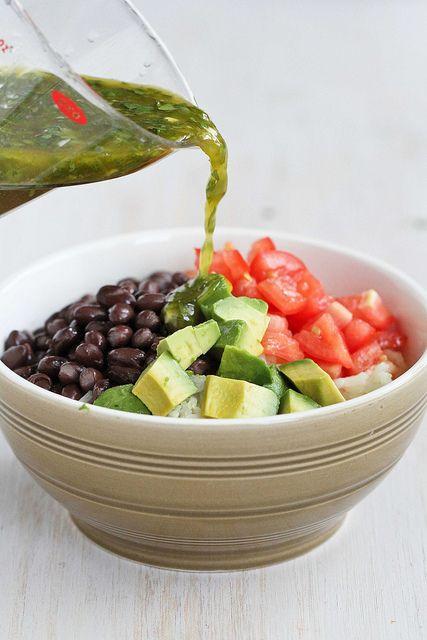 Easy Rice Bowl Recipe with Black Beans, Avocado & Cilantro Dressing | cookincanuck.com #vegetarian #glutenfree by CookinCanuck, via Flickr