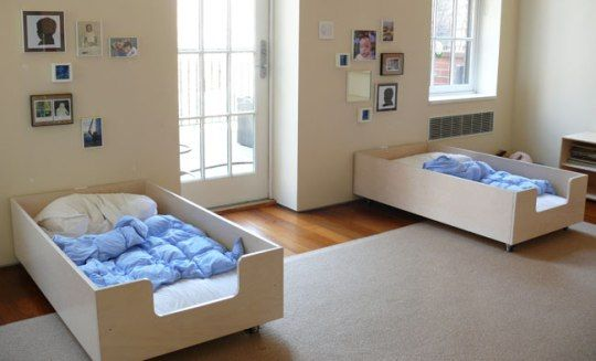 love these toddler beds. the cutout at the foot of the bed for easy access is genius.