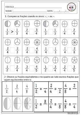 Comparando frações. Matemática