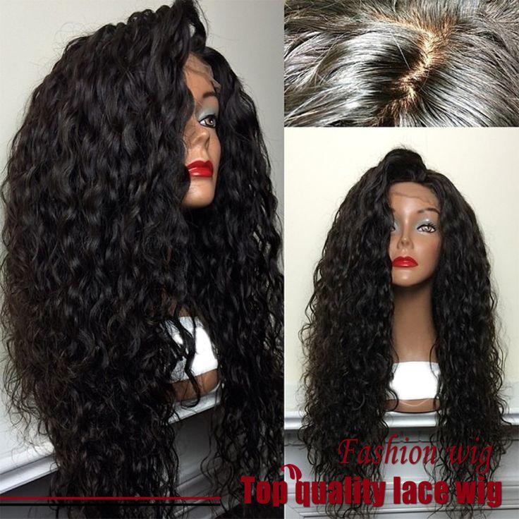 Pas cher Hot! Top Quality Fiber Loose Curly Wigs Synthetic Lace Front Wigs 180% Density Black Color Heat Resistant Synthetic Hair Wigs, Acheter Perruques de qualité directement des fournisseurs de Chine: Chaud! Top qualité fiber lâche bouclés perruques synthétique avant de lacet perruques 180%