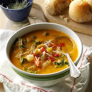 Spicy Sweet Potato Kale Cannellini Soup Recipe -This cross between a soup and a stew fits the meatless Monday bill quite nicely. It warms you right up, and satisfies without leaving you overstuffed.—Marybeth Mank, Mesquite, Texas