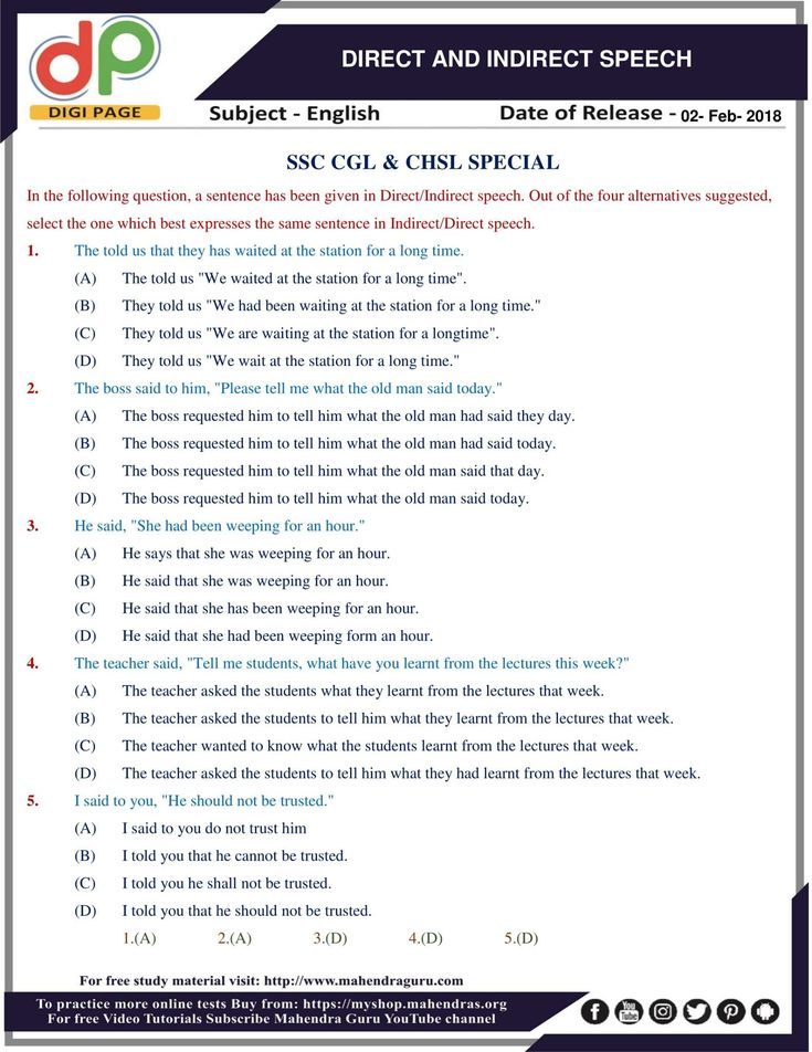 #DP | Direct And Indirect Speech For SSC CHSL & CGL | 02 - 02 - 18  http://www.mahendraguru.com/2018/02/dp-direct-and-indirect-speech-for-ssc.html