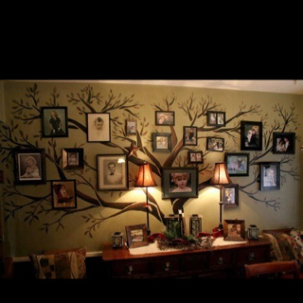 For the home: tree on wall with framed photos. Love this as a way to display a wide variety of family photos--different sizes, different frames, etc.