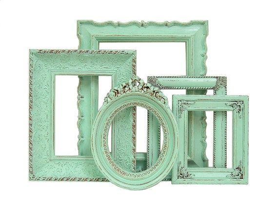 Shabby Chic Frames Mint Green Picture Frame Set Ornate Frames Wedding Home Decor