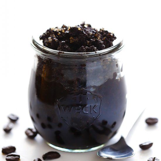 DIY Coffee Sugar Scrub -- all you need are 4 simple ingredients to make this easy all-natural body scrub.