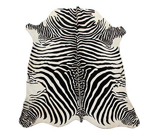 Kuhfell-Teppich mit Zebra-Druck - Schwarz / Perle Fell-Te...…