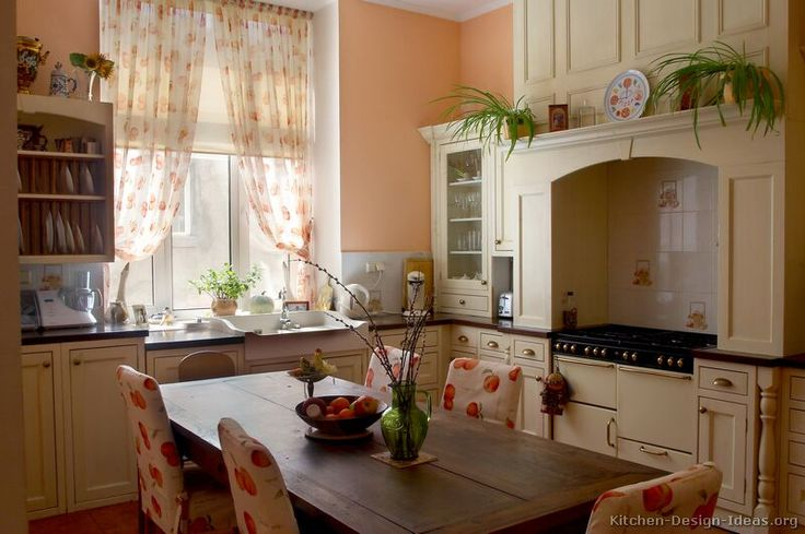 407 best cottage shabby chic french country images on for Peach kitchen ideas