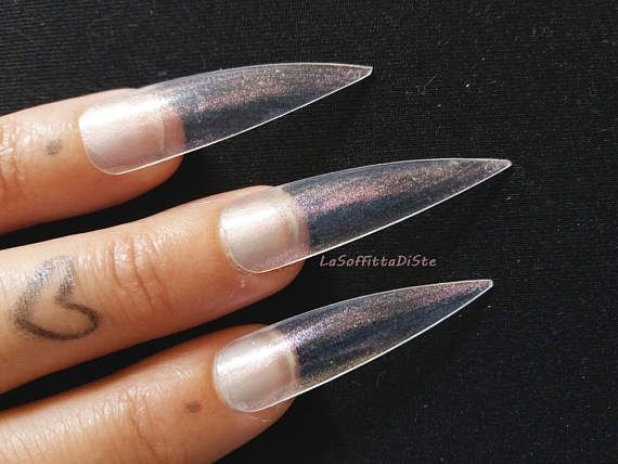 clear medium long stiletto false nails iridescent pink