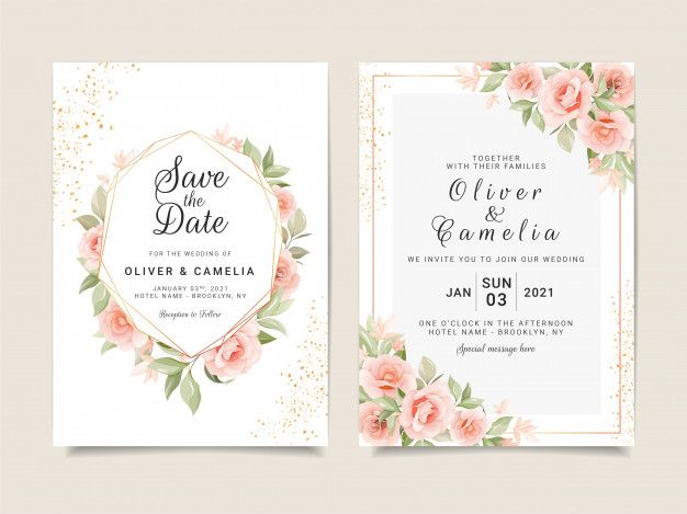 Elegant Wedding Invitation Card Template Set With Gold Floral Frame And Glitter Wedding Invitation Card Template Wedding Invitation Cards Wedding Invitations