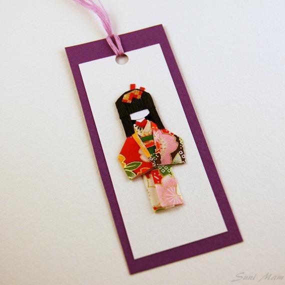 Bookmark  Handmade   Little Japanese doll  Washi paper  by SuniMam, €2.50