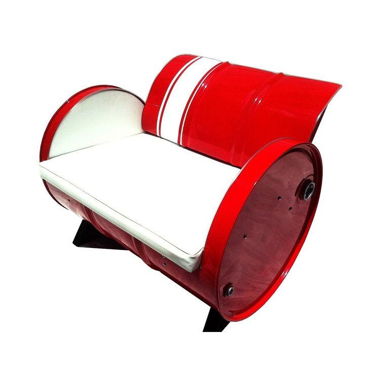 Drum Barrel Red Metal Stingray Armchair