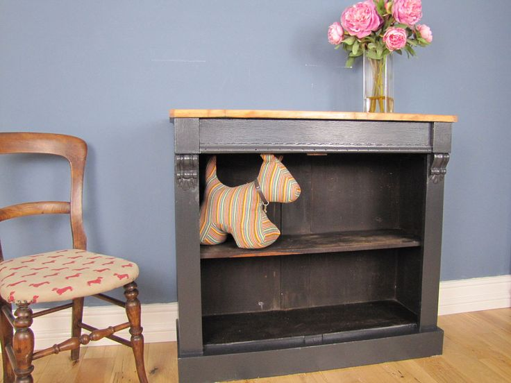 Painted Victorian Bookcase  With Drawer Stripped Pine Top Farrow & Ball Off Black by TomGunnerInteriors on Etsy