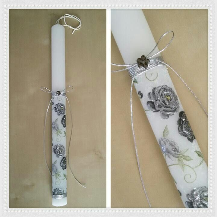 Easter candle by Stella Handicrafts. Λαμπάδα. Ντεκουπάζ. Decoupage.
