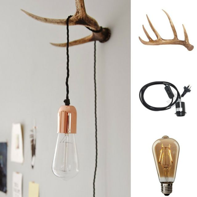 Three things from @thewarehousenz and you have a #stylish #diy #lamp! #Living & Co #Fabric #Wall Plug Cable ($15) #Design #House #LED #Pear Filamant #Bulb Screw-in ($29) Living & Co #Antlers #Wanderlust #Natural ($18)  #thewarehousenzhacks #furniture #NewZealand  #thewarehousenz #interiors #house #styling #style #hacks #shopthetrend #eclectic #home #decor #luxeforless #diy #diyprojects Prices listed to the best of my ability. Photo by aestheticyou.nl
