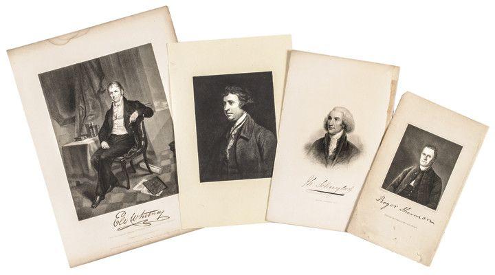 1800s Prints of FAMOUS Americans: ELI WHITNEY+ROGER SHERMAN+PHILIP SCHUYLER