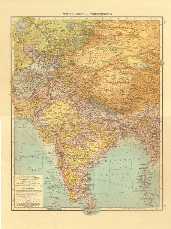 32 best cartography inspiration images on pinterest cartography 1922 india and central asia large vintage map gumiabroncs Choice Image