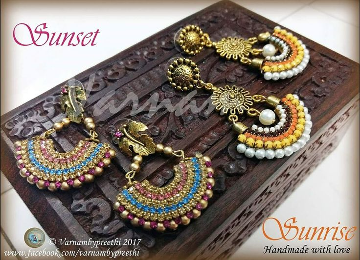 #100dayschallenge #day79 Code name: Sunrise & sunset For a mom daughter duo  Handcrafted layered paper base Bali style earrings with warm tones of yellow, orange and red for the mom and vibrant shades of pink and blue for the daughter :)   #varnambypreethi #sunrise #sunset #baliearrings #jewelry #chennai #accessories #handcrafted #earrings #handcrafted #handmadelove #ethnic #trenditional #paperbased #balistyle