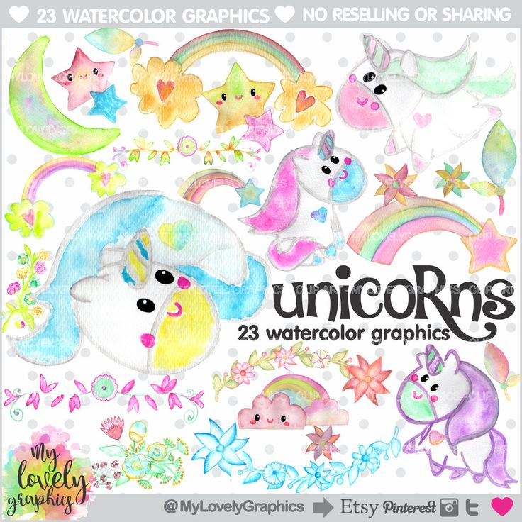 75%OFF - Unicorn Clipart, Unicorn Graphic, COMMERCIAL USE, Kawaii Clipart, Watercolor Unicorn, Planner Accessories, Rainbow Clipart, Rainbow