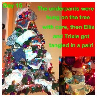 Elf on the shelf ideas Underwear hung by elves on the Christmas Tree