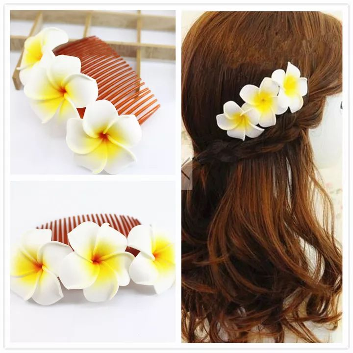 All 219 08 20 Kinds Of Color You Choose Fabulous Hawaii Plumeria Flowers Foam Frangipani Flower Comb Brida Hawaiian Flower Hair Plumeria Flowers Flower Comb