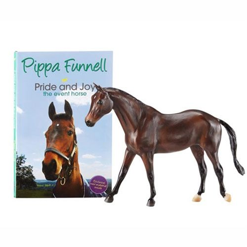 """Breyer Pippa Funnell's Primmore's Pride - Three-day eventing star Pippa Funnell became the only person in the world ever to win the Grand Slam of eventing in 2003 by winning the Rolex Kentucky Three Day, Badminton Horse Trials, and Burghley Horse Trials. Includes softcover copy of the book """"Pride and Joy,"""" written by Pippa Funnell."""