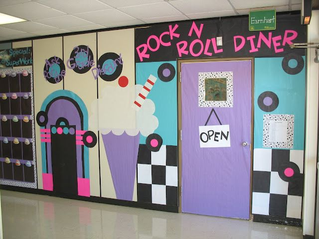 50s Themed School Hallway Decorations  Maybe use records for student names at the beginning of the year?
