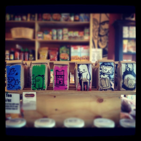 Hand painted coffee bags for Seven Coffee Roasters by Brandon Baker, via Behance Another hashtagmerica.com vendor.   Shop local.  Nationally.
