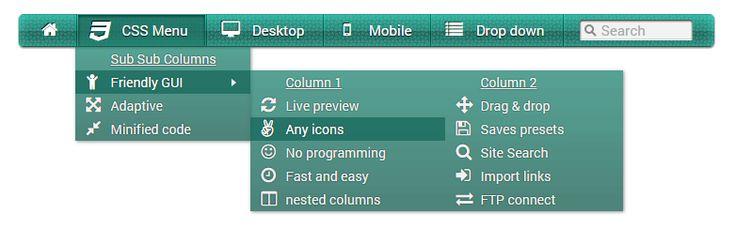 Nested sub sub menu columns