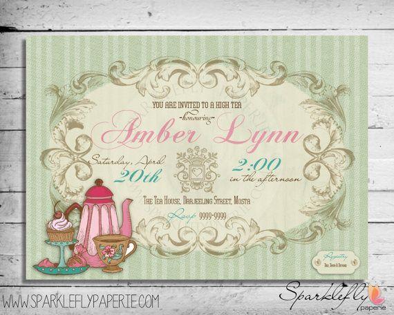 Bridal Shower / Baby Shower / Birthday Vintage High Tea Invitation (DIY Printable)