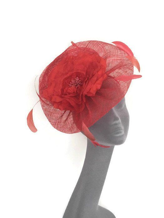 8f437c18 LUCY - Red Fascinator Hatinator Hat Headpiece - Mother of Bride Weddings  Kentucky Derby Royal Ascot Epsom Derby Ladies Day Races Hat by  BEVERLEYSBOUTIQUE123 ...
