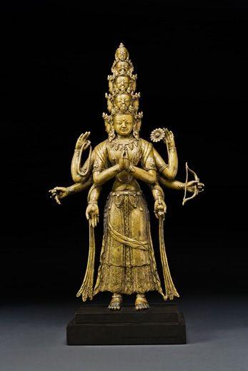 Eleven Faced Avalokitesvara. Tibet, 15th century. Bronze. 12 inches (30.5 cm). Asia Week New York   Walter Arader Himalayan Art