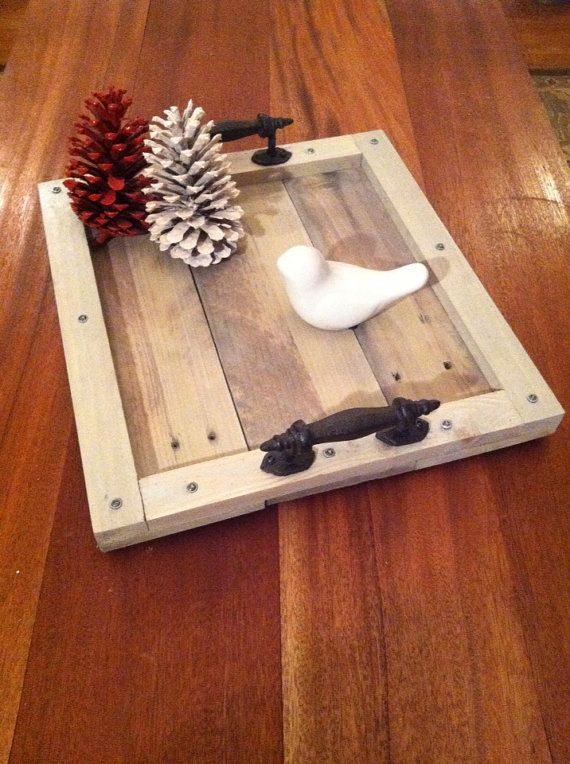 Reclaimed Grey Driftwood Pallet Wood Serving Tray with Metal Handles on Etsy, $49.00
