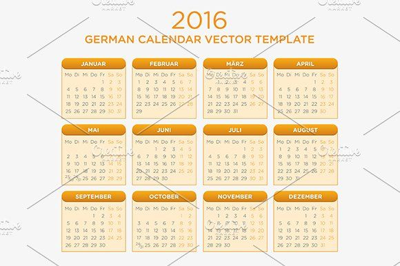 German Calendar Vector 2016 Calendar Vector Stationery Templates Calendar