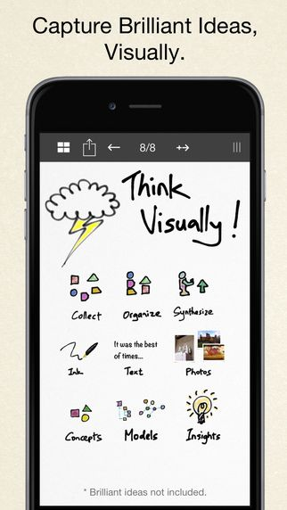 Inkflow works like a word-processor for visual thinking. Capture your ideas as easily as with pen and paper, then arrange and reorganize them with your fingers!