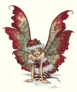 Amy Brown Christmas Holly - Fairy Art