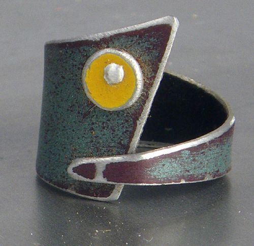 """""""Audrey"""" ring - metal salvaged from a 73' GMC pickup trunk - Pyper Hugos. Love that its recycled too!"""