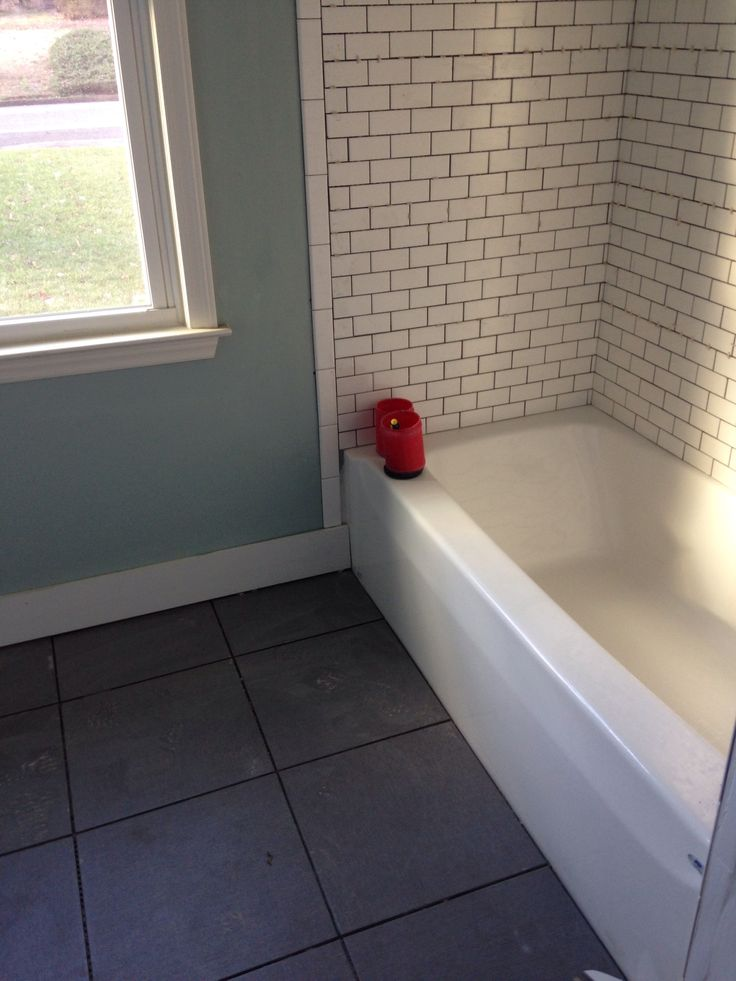 Sherwin Williams Quietude, White Subway Tile and Gino Gray from Lowes--  love it