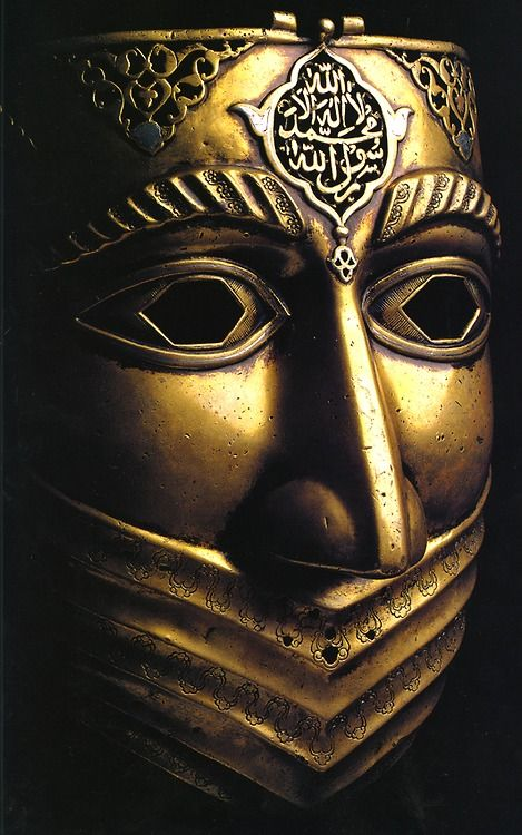 ismael-sarepta:    Iranian battle-mask, from the Safavid Dynasty (16th-18th c.) (Shahada inscribed on the top)