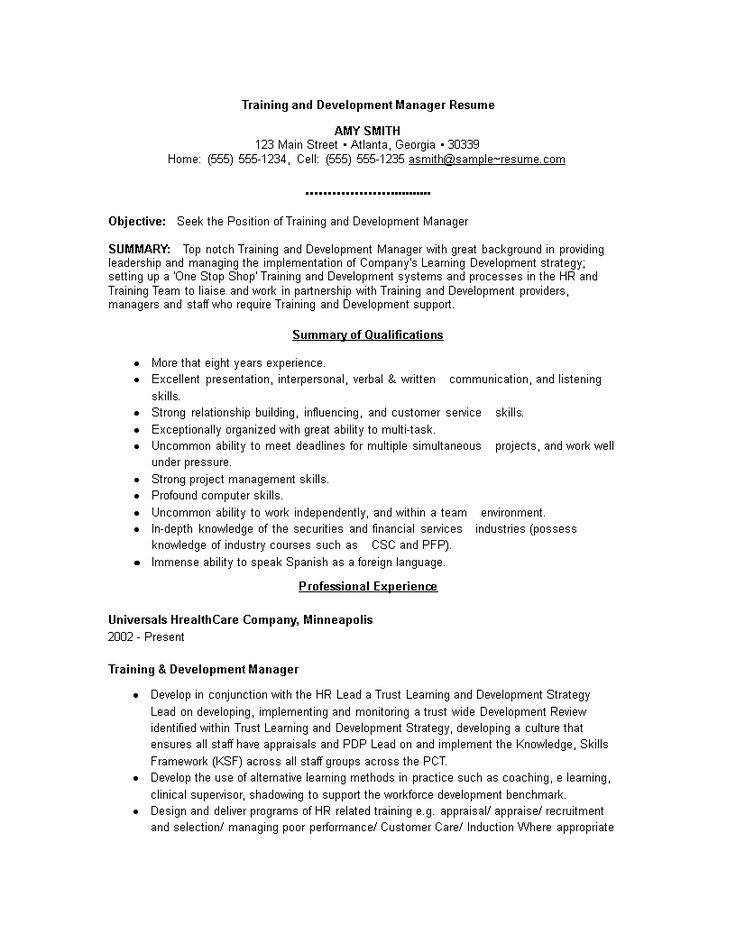 Training And Development Manager Resume How to draft a