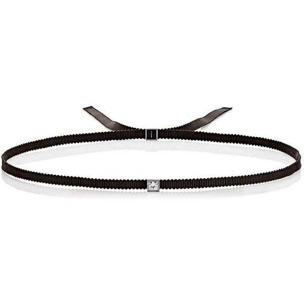 Ileana Makri Women's Ribbon Choker ($6,330) ❤ liked on Polyvore featuring jewelry, necklaces, black, thin necklace, white gold choker necklace, sparkly necklace, thin choker necklace and adjustable necklace