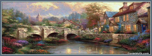 Thomas Kinkade Spring Bridge Facebook Cover