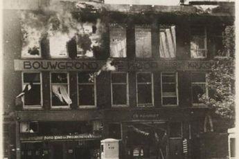 brand in de fotowinkel en favoriet aan de Coolsingel op 14 Mei 1940