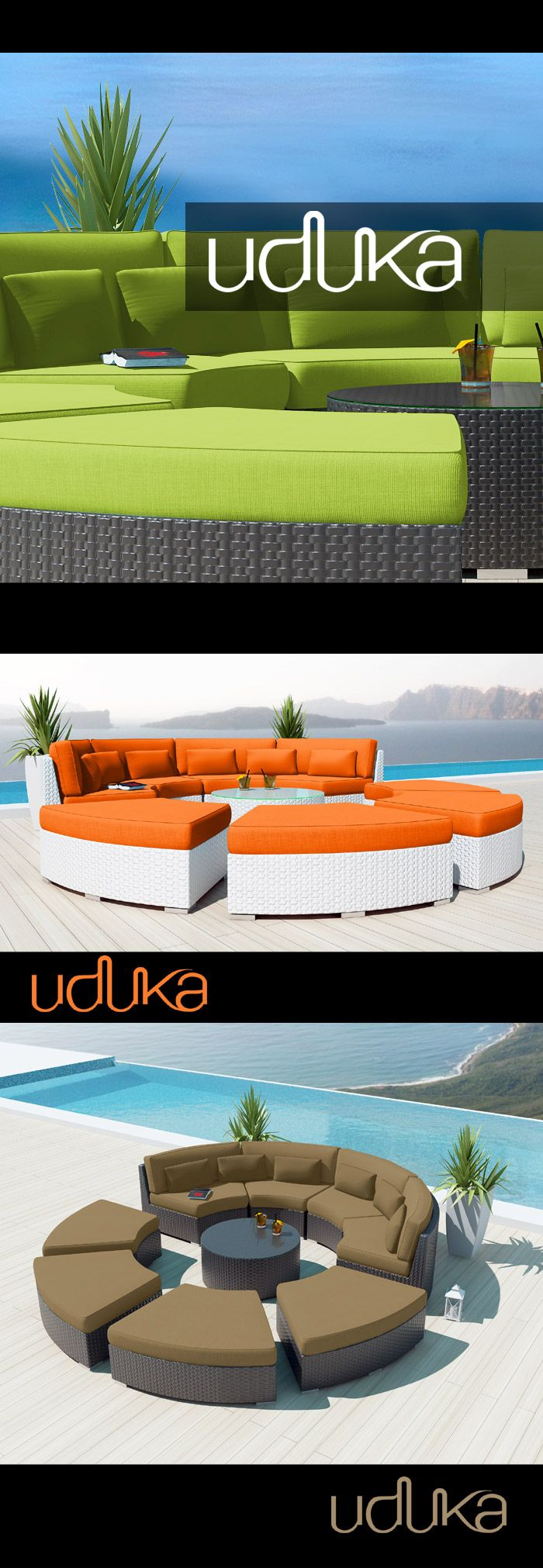 Uduka Outdoor Sectional Modern Patio Furniture White Wicker Sofa Set Porto 6 Orange All Weather Couch #patiofurniture #Wickerfurniture #Rattanfurniture #outdoor