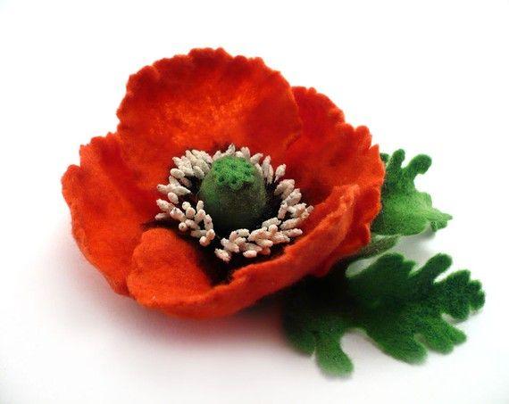 Poppy brooch, felt brooch pin, felted flower, felt poppy, войлочное украшение, цветок из шерсти, красный мак, войлочная брошь, мокрое валяние