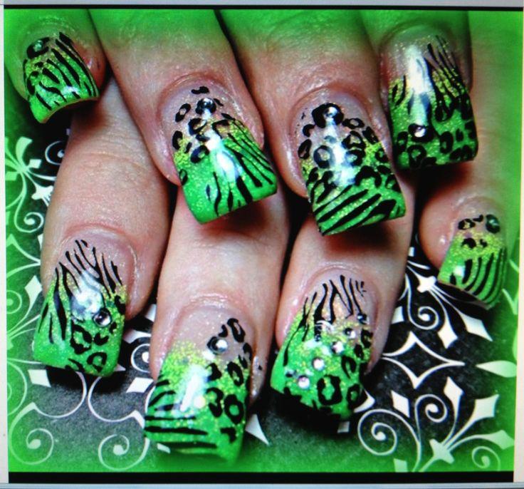 Green animal print acrylic nails