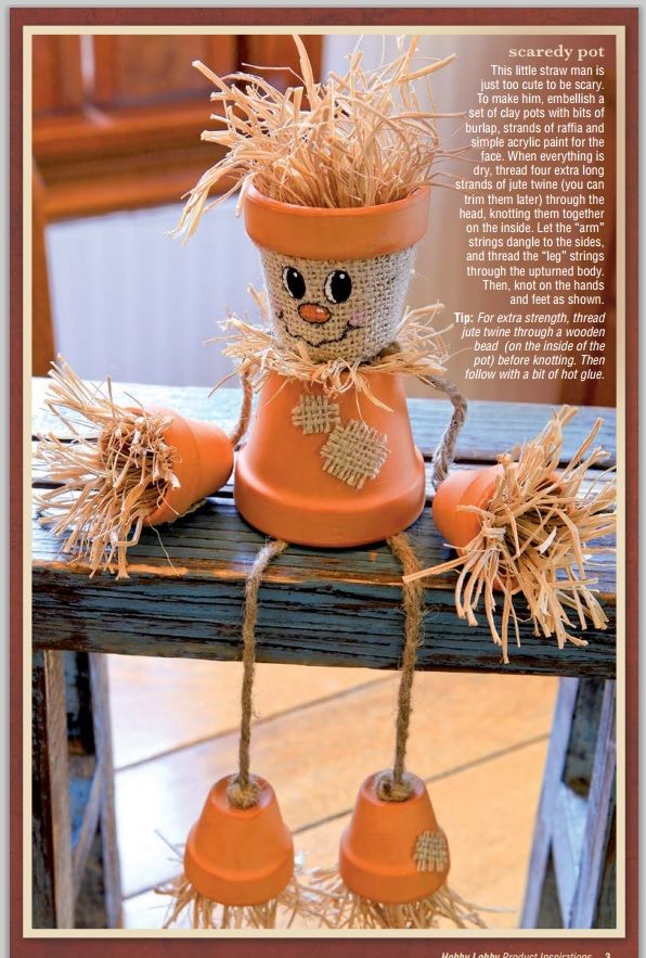 DIY Scaredy Pot! ~ To make: embellish a set of clay pots ...
