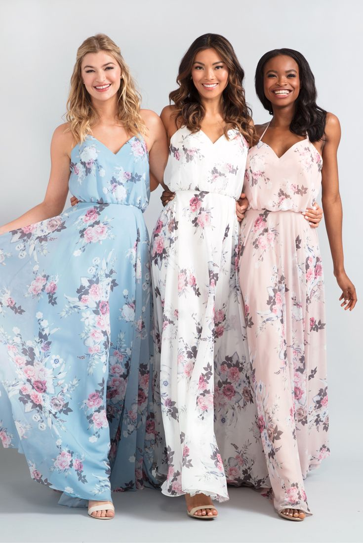 0480c7faa4 Floral-Print Chiffon Bridesmaid Dress by Kleinfeld in 2019 | New ...