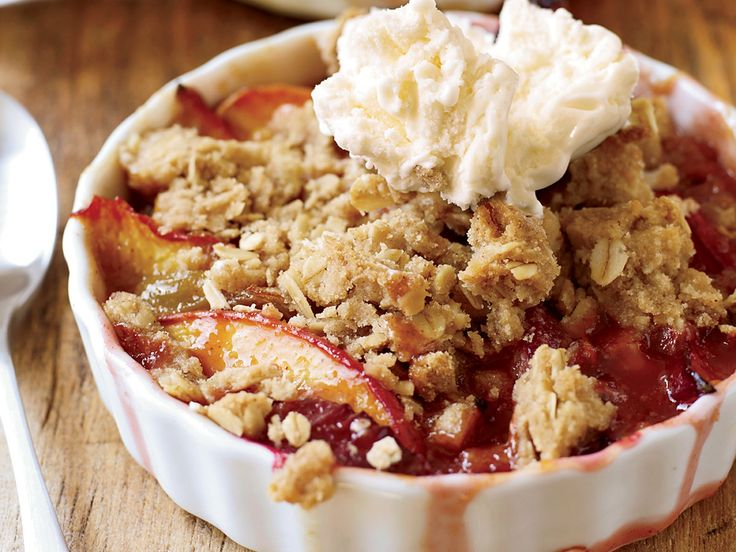 Nectarine-and-Plum Crisp with Oatmeal Streusel   Food & Wine goes way beyond mere eating and drinking. We're on a mission to find the most exciting places, new experiences, emerging trends and sensations.